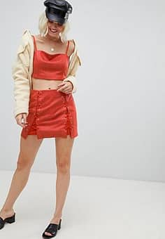 Emory Park mini skirt with lace up detail in faux snake co-ord-Red
