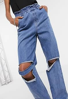 Emory Park relaxed jeans with ripped knees and paper bag waist-Blue