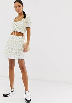 Emory Park skirt with ruffle hem in ditsy floral co-ord-Yellow