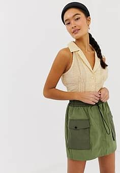 Emory Park sleeveless blouse in gingham-Yellow