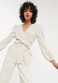 wrap top with balloon sleeves in mini check-Neutral