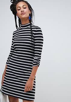 high neck stripe dress in black and white-Multi