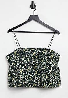 cami smock top with peplum hem in quilted ditsy floral co-ord-Black