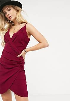 Free People Dylan ruched bodycon slip dress-Red