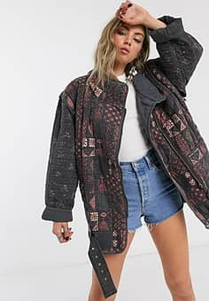 jenny quilted moto jacket in multi