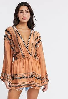 Free People saffron embroidered tunic-Brown