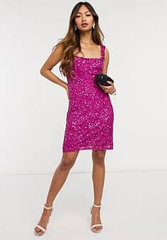 Alban Sequin Strappy Dress-Pink
