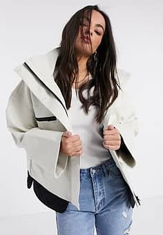 Betti technical high neck jacket in white