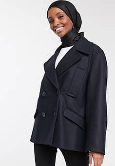 Carmelira double breasted short coat in blue