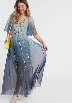 ombre embroidered maxi dress in indigo-Blue