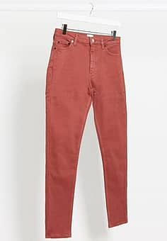 skinny high waist jeans in red
