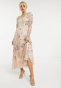 all over fairytale embellished maxi dress in multi-Pink