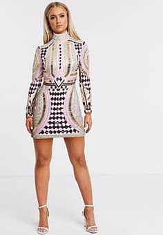 Club all over embellished high neck bodycon dress in multi-Black