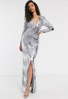 Club knot front silver embellished maxi dress in grey