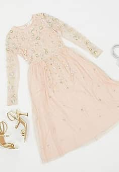 Frock & Frill embellished long sleeve midi dress in blush-Pink
