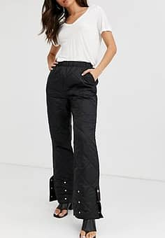 Gestuz Ray quilted sateen co-ord trousers-Black