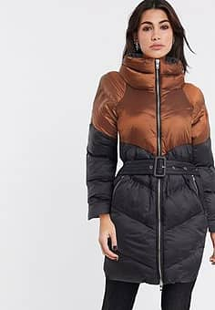 two tone lonligne belted padded jacket in black and brown