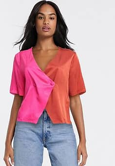 Gestuz two tone satin blouse in pink and red