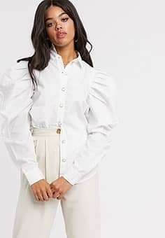 extreme puff sleeve shirt in white