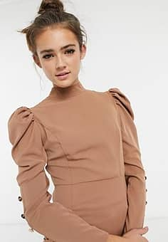 puff sleeve button detail top in camel-Brown