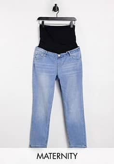 straight leg jeans with over the bump band-Blue