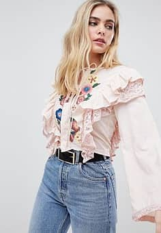 embroidered blouse with frill detail-Pink