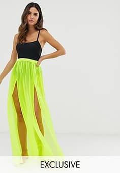 Exclusive mesh beach skirt in neon lime-Green
