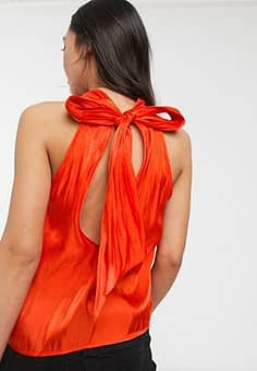 sleeveless top with tie neck in textured satin