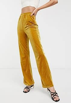 wide leg trousers in velvet rib-Yellow