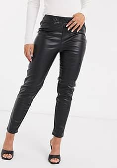 eleasticated skinny faux leather trousers-Black
