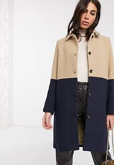 panelled longline coat in camel and navy-Multi