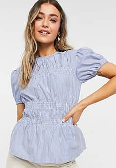 blouse in blue and white stripe