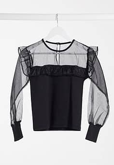Influence blouse with organza frill sleeves in black
