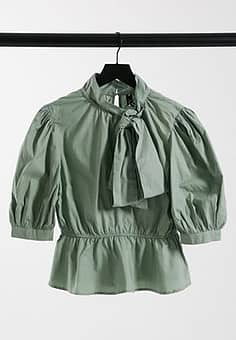 Influence bow neck cotton poplin blouse in sage green