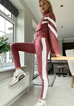 stripe joggers co-ord in dusky pink