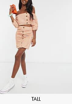mini skirt with button detail in gingham co-ord-Orange