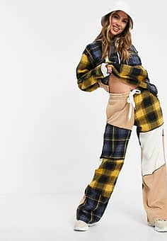 relaxed patchwork cargo trousers co-ord-Multi