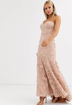 bandeau lace embroided maxi dress with fishtail in pearl pink