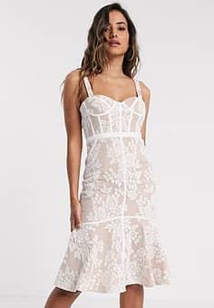 lace midi dress with corset detail in ivory-White