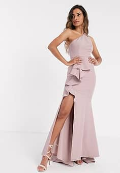 one shoulder ruffle maxi with thigh split in blush-Pink