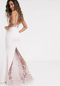 plunge fishtail maxi with 3d floral in ecru-Cream
