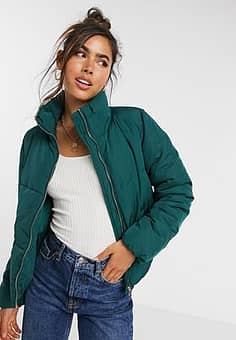 JDY quilted padded jacket in green