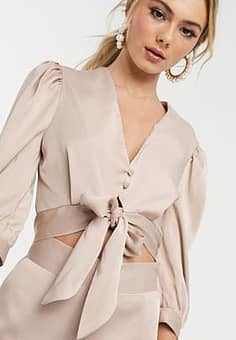 satin button through top with tie front detail in cream-White