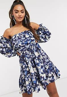 John Zack satin off shoulder mini dress in blue abstract floral-Multi