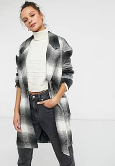 boxy straight coat in black and white check