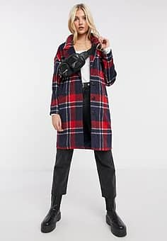 boxy straight coat in red/ navy check-Multi