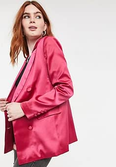 double breasted blazer in pink co ord-Red