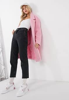 fluffy straight coat in pink