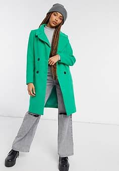 straight coat with button detail in green