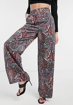 wide leg palazzo trousers in paisely print co ord-Multi